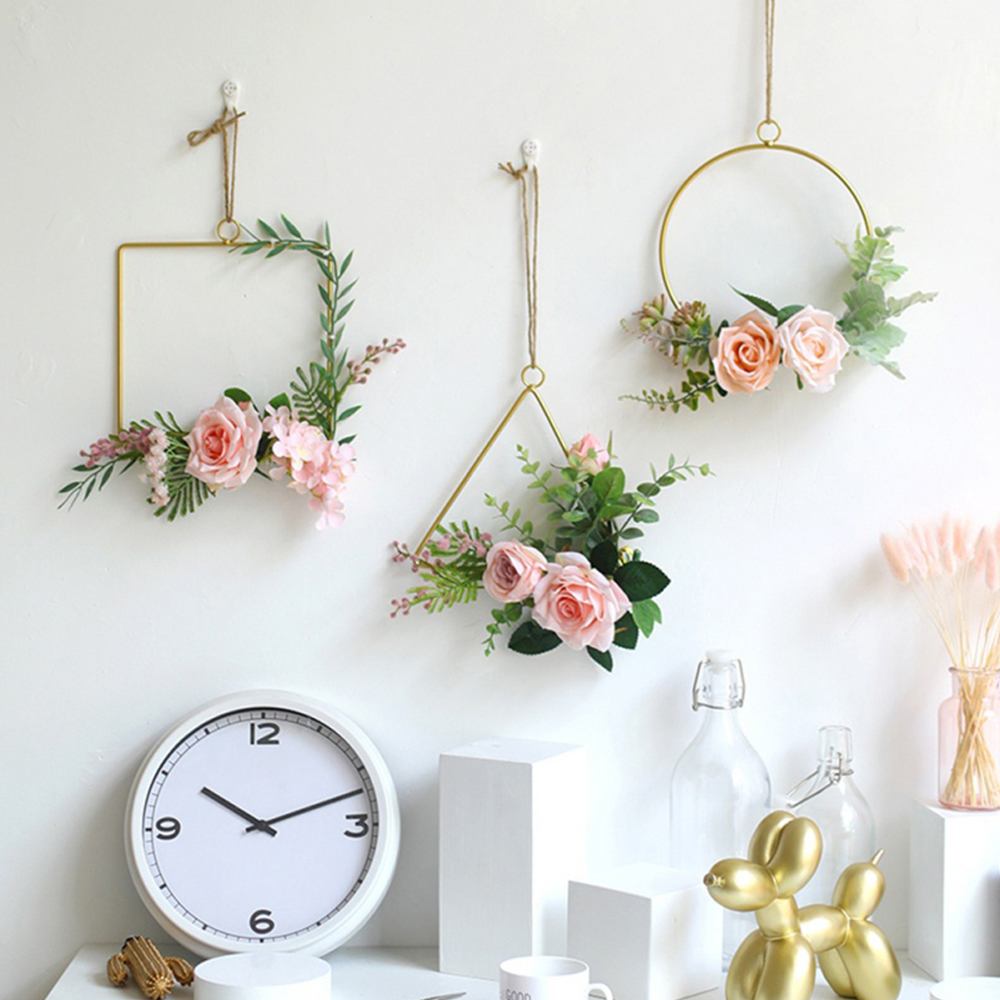 Nordic Style Iron Art Frame 3D Wall Mounted Flower Holder Wind Chimes Dry Flower Vase Geometric Home Baby Shower Party Decor