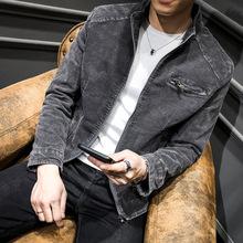 W nowym stylu męskie jeansy Retro płaszcz jesienne topy młodzieżowa casualowa kurtka męska w stylu koreańskim modny Pure Color męska odzież bawełniana tanie tanio Bin shi Style Washing 1856