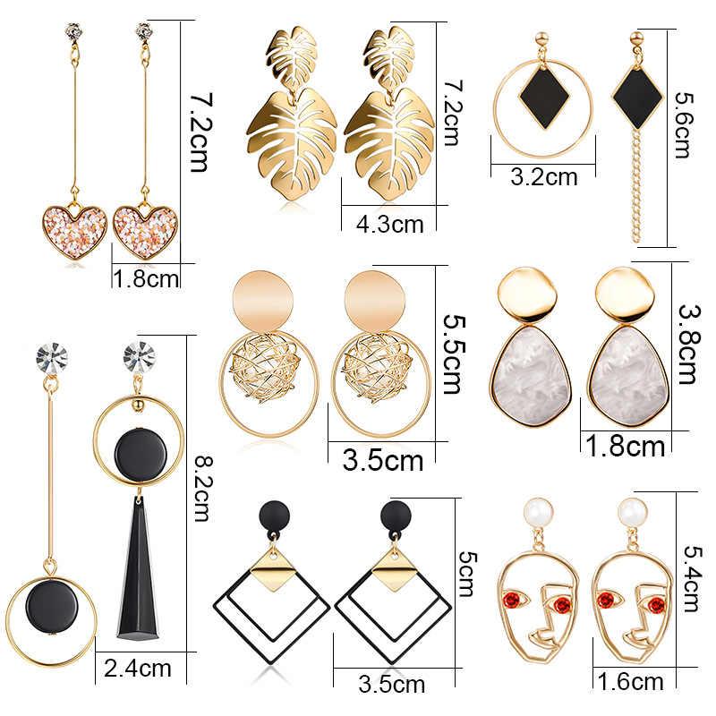 Llamativos coreanos ronda pendientes para las mujeres 2019 de joyería de moda Vintage geométrica lentejuela redonda colgante Pendiente de oro