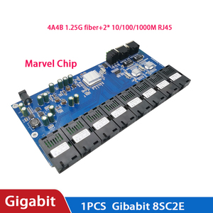 Image 4 - מתג Gigabit Ethernet סיבים אופטי מדיה ממיר 8 יציאת 1.25G SC 2 RJ45 10/100/1000M PCBA לוח