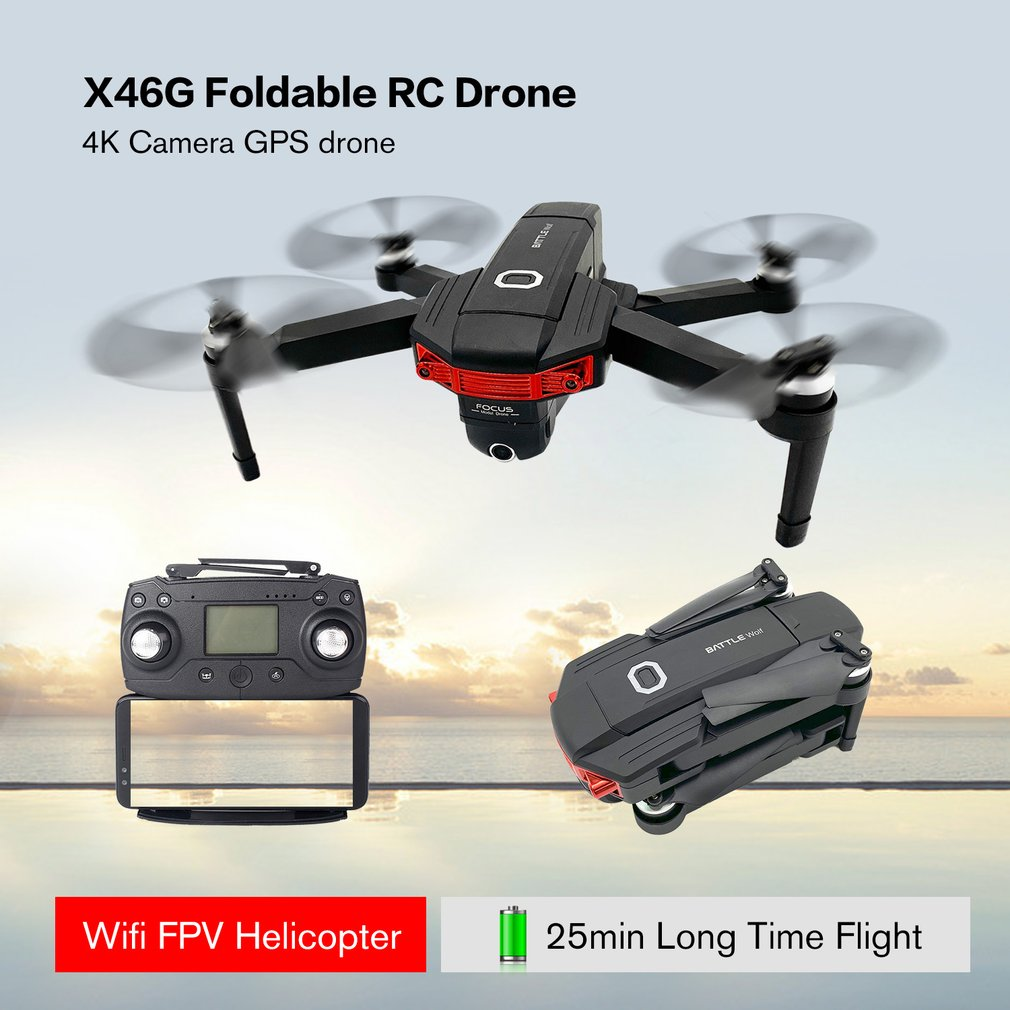 X46G 5G WIFI FPV GPS Quadcopter Foldable RC Drone with 4K HD Camera Brushless Motor 25 min Flight Time Drone With 1 2 3 Battery in RC Helicopters from Toys Hobbies