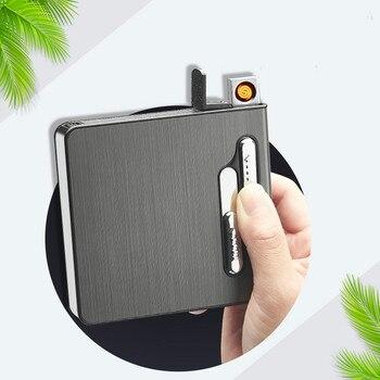 Новый креативный 20 сигарет пакет дым чехол с электронная USB Зажигалка металлическая сигарета коробка ветрозащитный автоматический всплыва...