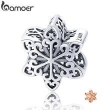 BAMOER Genuine 925 Sterling Silver Elegant Snowflake Openwork Beads fit Women Charm Bracelets & Necklace DIY Jewelry SCC719(China)