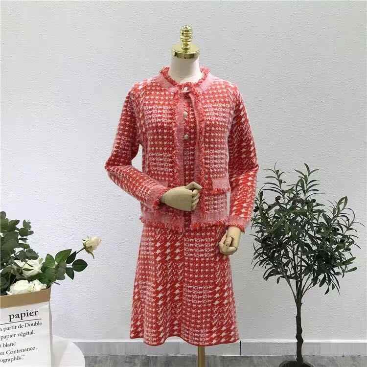 סתיו וחורף סרוג יהלומי כפתור שרוולים שמלת משבצות + סרוג סוודרים ארוך שרוול מעיל 2-חתיכה שמלת סטים