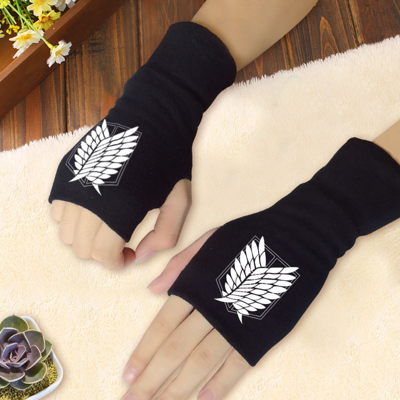 2019 neue Anime cosplay Angriff auf Titan Wings of Liberty Naruto Akatsuki Red cloud FAIRY TAIL <font><b>icon</b></font> handschuhe Baumwolle Daumen handschuhe image