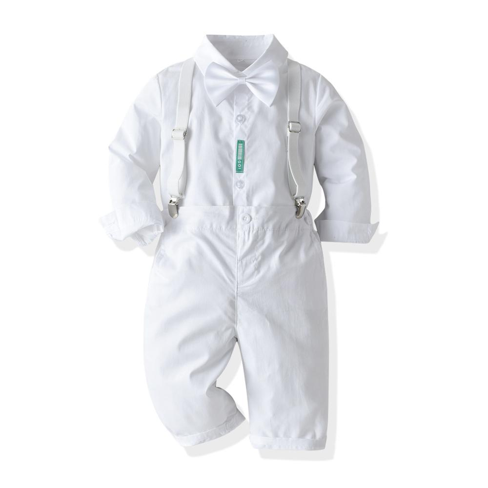 2020 New Autumn Winter Clothes Baby Kids Formal Wedding Birthday Party Suit Prince Costume T-shirt + Pants 2PCS White 1-3-6 Y