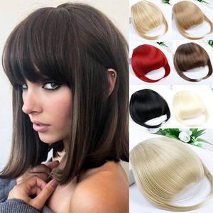 MUMUPI Black Brown Blonde Fake Fringe Clip In Bangs Hair Extensions With High Temperature Synthetic Fiber