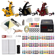 Pigment Tattoo-Machines-Set Permanent-Ink Power-Supply Professional LCD 54pc/Set