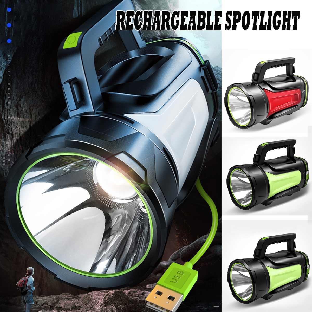 High Power LED Flashlight Searchlight Spotlight 200/300/500W Torch Camping Lantern Light For Hiking Hunting