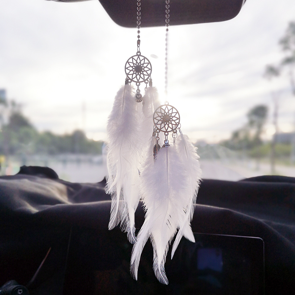 Car Mini Dream Catcher Accessory Interior For Girls Feather Mirror Hanging Pendant In Auto Ethnic Home Decor Lucky Car Ornamen