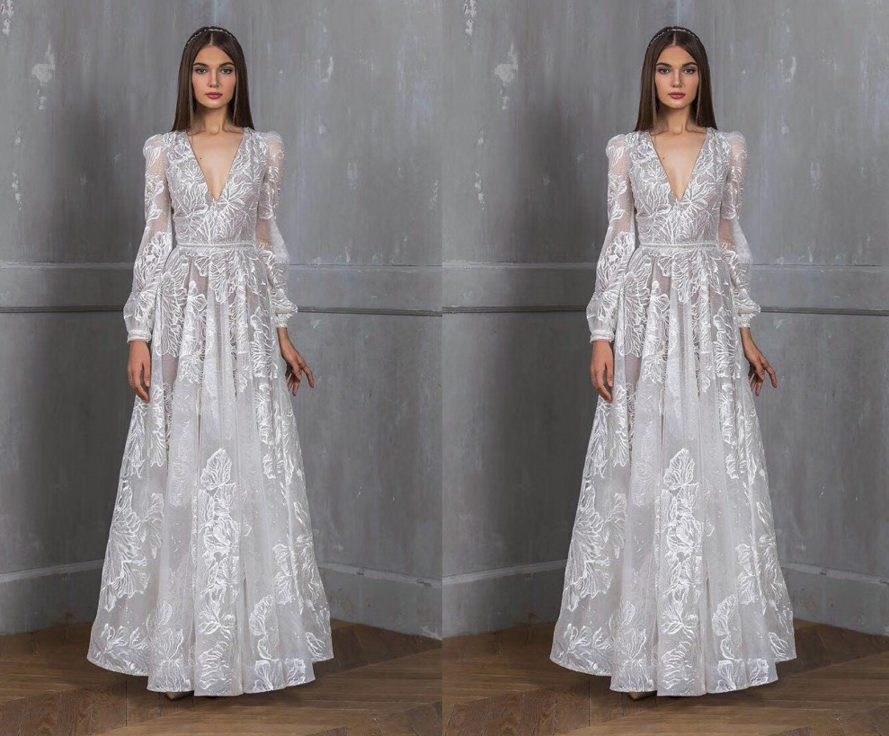 Best Deal Elegant Boho Women Lace Long Wedding Dresses 2019