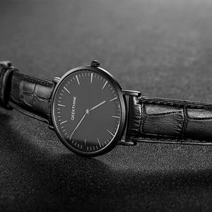 Image 2 - GEEKTHINK Top Brand Luxury Quartz watch men Business Casual Black Japan quartz watch genuine leather ultra thin clock male New