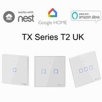 Sonoff T1 T2 المملكة المتحدة 1 2 3 عصابة الذكية WiFi جدار مفتاح الإضاءة RF/APP/اللمس مؤقت تحكم عن بُعد المملكة المتحدة لوحة المنزل الذكي جوجل عش/اليكسا|rf wifi|app controlled lightrf light switch -