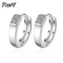 JYouHF Fashion Large Small Size Round Circle Earring Elegant Simple White Gold Color Cubic Zircon Hoop Earrings for Women Gift fashion korean style small round hoop earrings white flowers earring elegant shining zircon earring women party jewelry gift