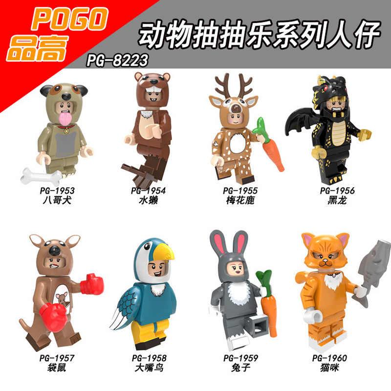 Pogo cartoon animal figura de ação vaca elefante alce coala aranha blocos de construção crianças presente brinquedos