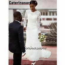 цена на Sexy Backless Long Sleeves Mermaid Wedding Dress Sweep Train Lace Bridal Gowns Vestido De Noiva