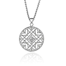Crystal Round Small Pendant Necklace 925 sterling Silver Bijoux Collier Elegant Women Jewelry Gifts Dropshipping