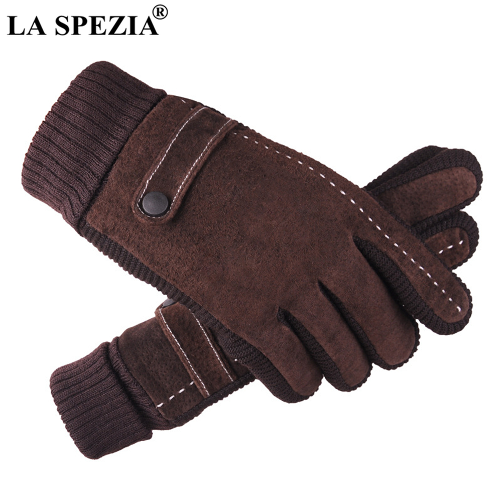 LA SPEZIA Mens Leather Gloves Pigskin Winter Gloves Black Brown Warm Thick Driving Men's Gloves Guantes