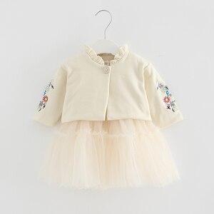 Image 3 - Crianças Conjuntos de Roupas de Outono Crianças de Manga Longa Casaco + vestido de Baile Vestido de Flores Bordado 2 PCS/Ternos de Roupas Meninas queda 0 2Y