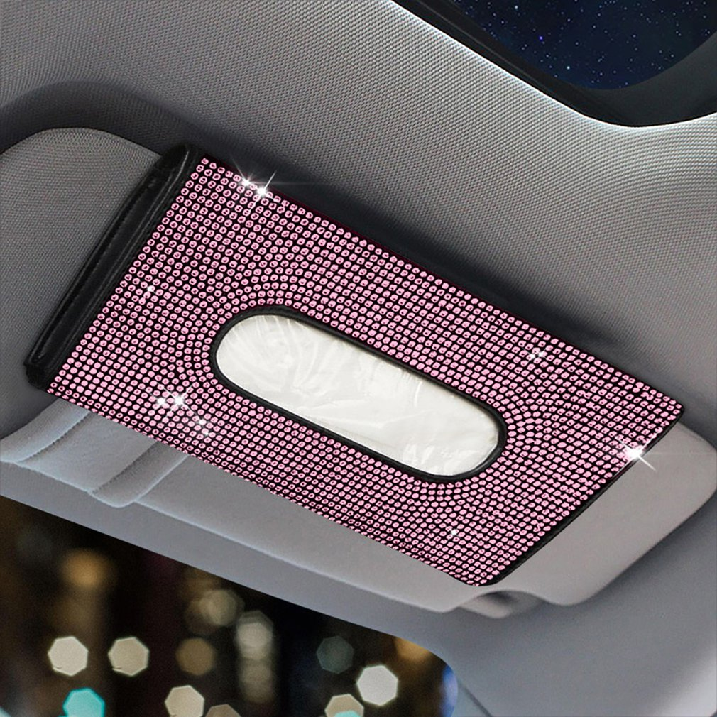 Bling Bling Diamond Car Tissue Box Visor Tissue Holder Hanging Leather Crystals Paper Towel Cover Case for Women Car Accessories