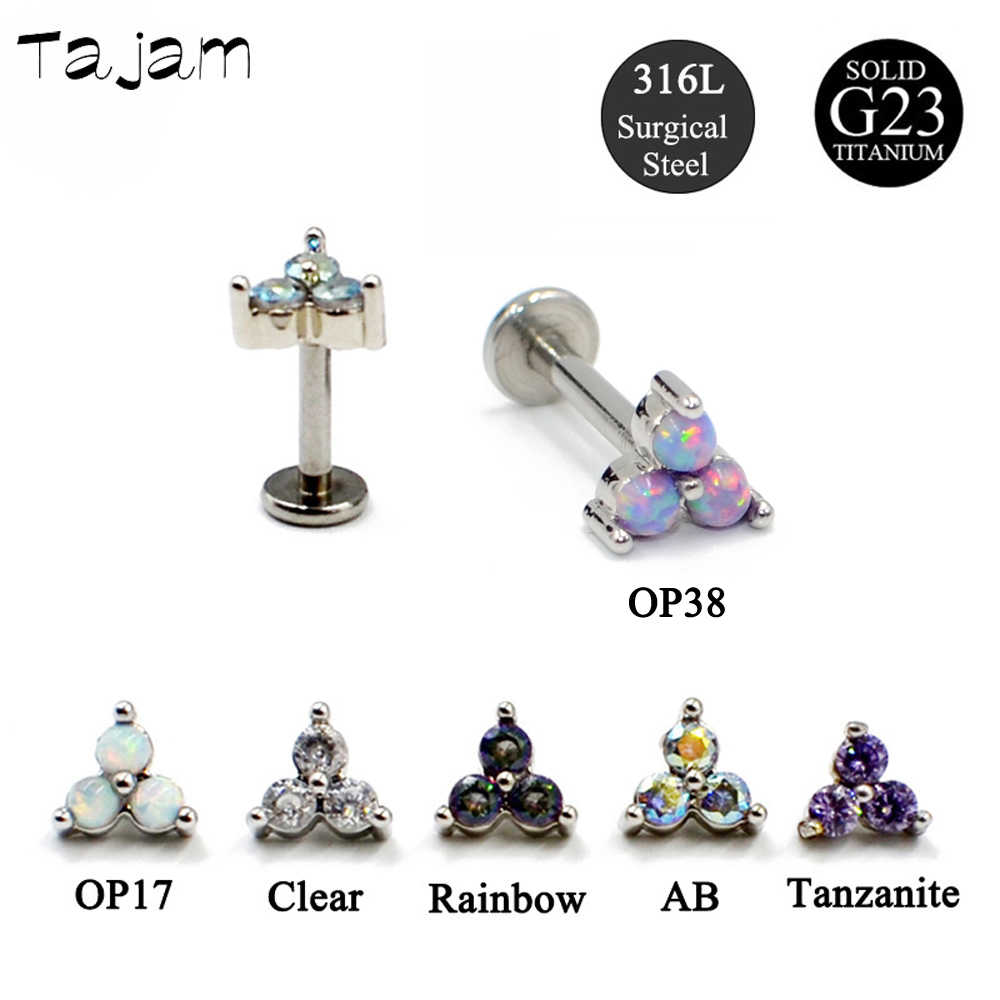 1PC Titanium Steel Triangle Zircon Labret Studs Earring Internal Threaded Opal Tragus Cartilage Piercing Jewelry Free Shipping