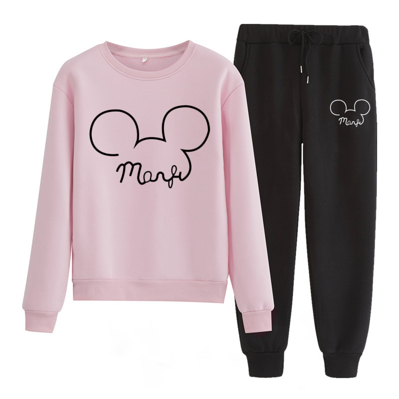 Tl22 Mickey Print Tracksuit Women Thermal Men Sportswear Sets Fleece Hoodie+Pants Suit Casual Sweatshirts Sport Suit
