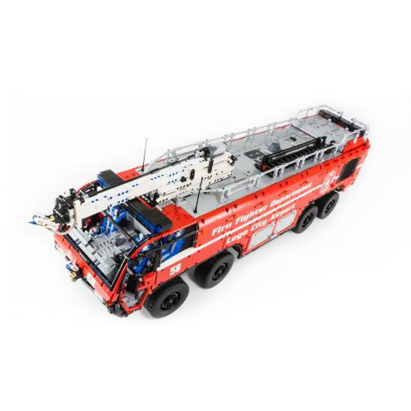 MOC-4446 Technic Series Fire Fighting Airport Crash Tender Building Blocks Crane City Bricks Toys For Children Kids Xmas Gifts