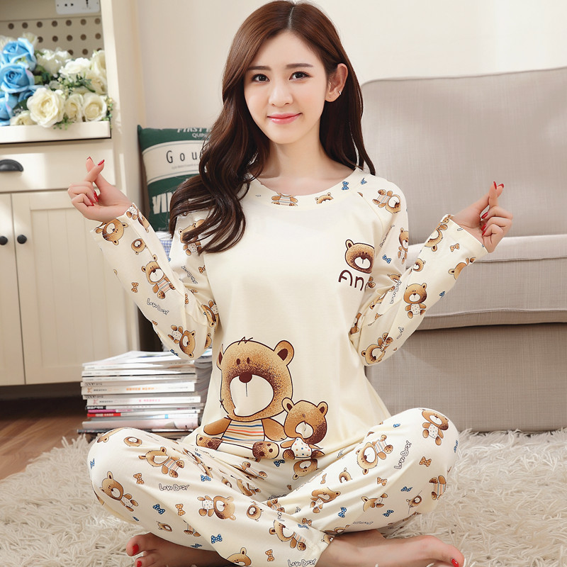 Pajamas Women's Autumn Thin Cartoon Long Sleeve Crew Neck Qmilch Low Price Run Homewear Set