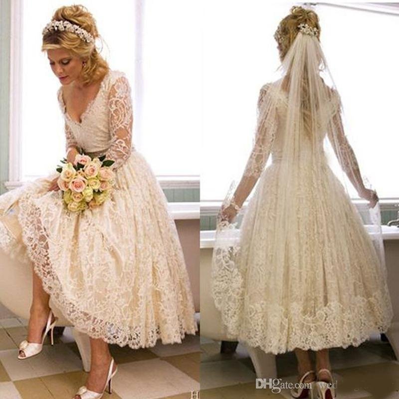 Vintage Lace Deep V-Neck Tea Length Country Style Short Bridal Gowns With Illusion 3/4 Sleeves Custom Made Cheap