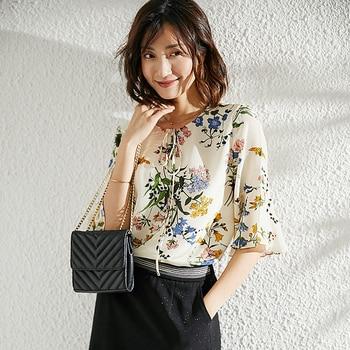 100% Silk Women Three Quarter Sleeve Floral Blouse Shirt Patchwork Simple Design O Neck Floral Print Chiffon Ruffle Blouse Women фото