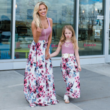 Floral Printed Long Dresses Mommy and Me clothes Dresses Fam