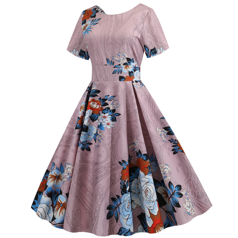 Summer Floral Print Elegant A-line Party Dress Women Slim White Short Sleeve Swing Pin up Vintage Dresses Plus Size Robe Femme 234