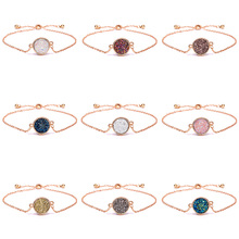 RINHOO Charm Bracelets&Bangles Simple Circular Cluster Bracelet Colorful Round Stone Bangles Crystal Jewelry Gift