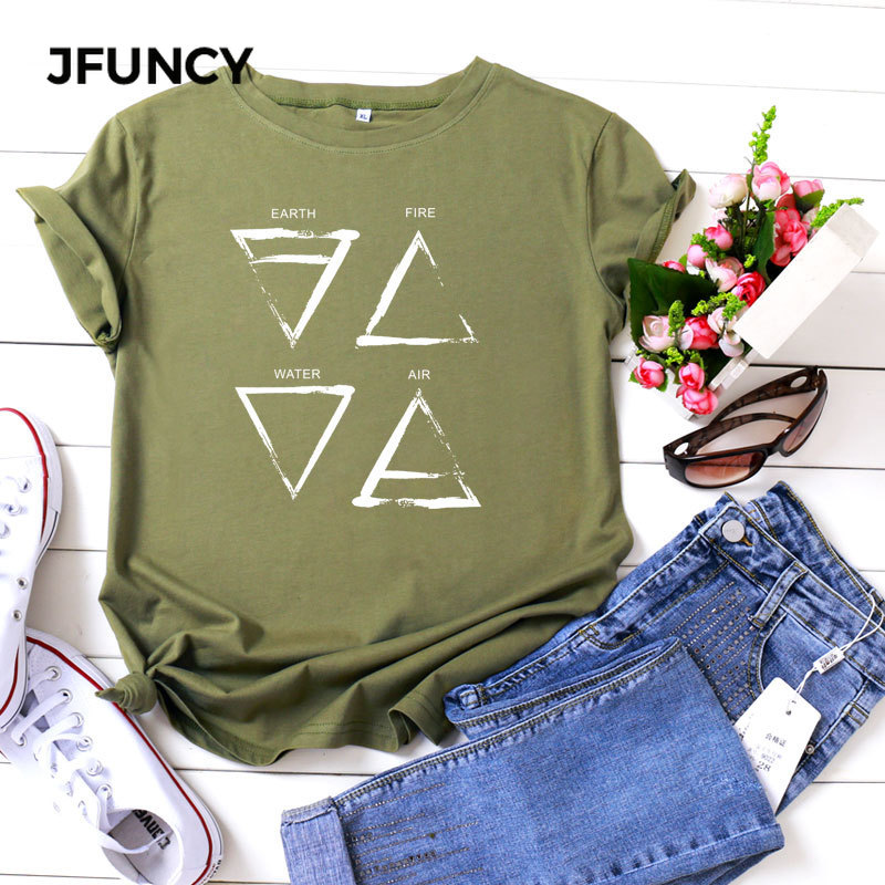 JFUNCY Plus Size T Shirts Women Funny Casual Summer Cotton T-Shirt  Triangle Graphic Print O Neck Short Sleeve Female Tee Tops