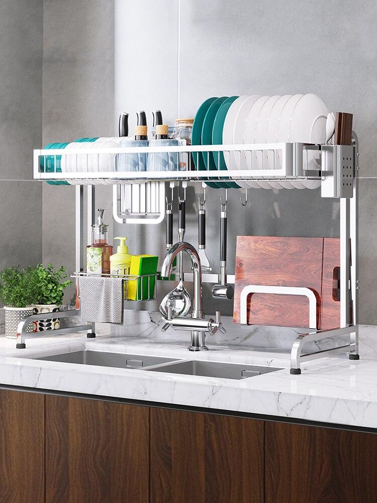 Кухонная раковина из нержавеющей стали/стойка для посуды/сливная стойка/домашняя кухонная для хранения кухонная техника