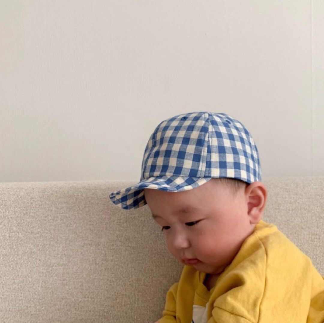 아기 소년 소녀 야구 베레모 모자 어린이 유아 모자 모자 모자 소년 격자 무늬 소년 여름 모자 1-6T