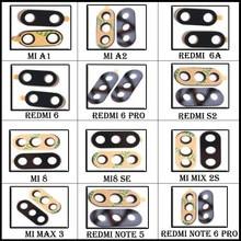 Tylny obiektyw szklany do aparatu Xiaomi Redmi 5 6 6A plus pro/S2/Y2/uwaga 4 5 6/Mi A1 A2 lite 8 SE/Mi mix 2S/Mi Max 3 tylny tył