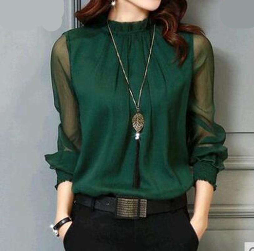 Chiffon Blouse New Women Tops Long Sleeve Stand Neck Work Wear Shirts Elegant Lady Casual Blouses women's blusas Plus size 1