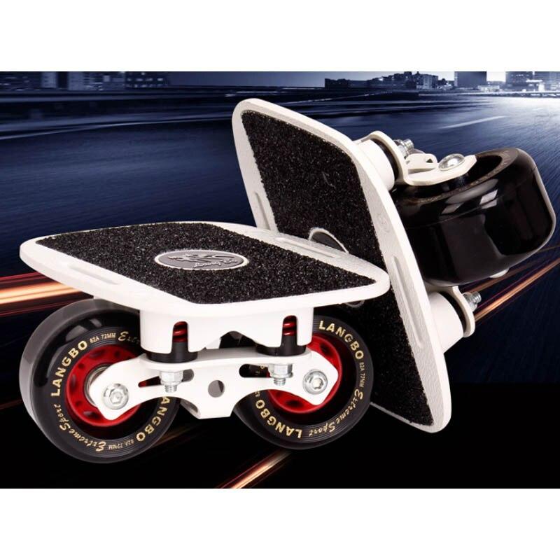 Drift Board Two PU Wheels Aluminum alloy Skateboard For Freeline Roller Road Drift Skates Antislip Deck Skates Wakeboard
