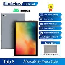 Blackview tab 8 10.1 polegada android 10.0 google play 4g chamada de telefone comprimidos 4gb ram 64gb rom 13.0mp câmera traseira 6580mah tablet pc