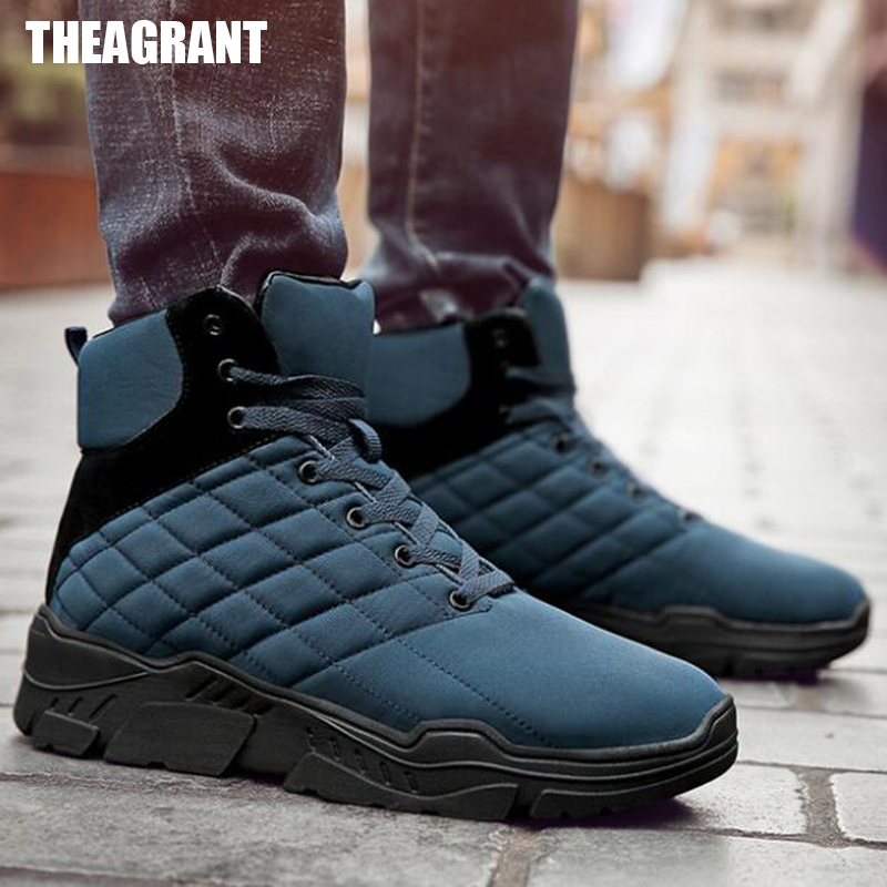 THEAGRANT New Men Boots Winter Snow Boots Men High Top Sneakers Warm Plush Lace Up Outdoor Activity Fashion Shoes Man MBS2011