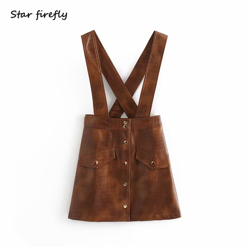 Star Firefly Fashion Za Strap Skirt Women 2019 Casual Slim Wild Pocket Single-breasted Imitation Leather PU Mini Strap Skirt