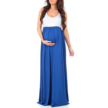 Explosion models fashion maternity dress solid color round neck sleeveless stitching large swing pregnant  long skirt