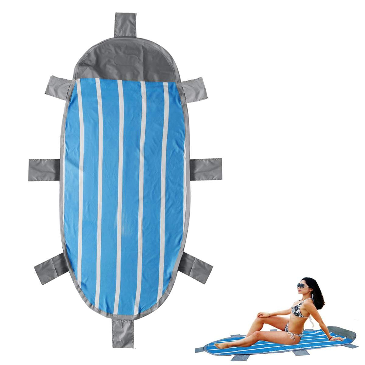 Wakects Inflatable Air Bed Moisture Floor Mat with Inflatable Pillow for Picnic Camping Beach Garden