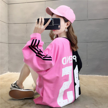Black Pink Letter Print Long Harajuku Hoodies Women Sweatshirts 2019 Autumn Winter Oversized Casual Korean Loose Pullovers
