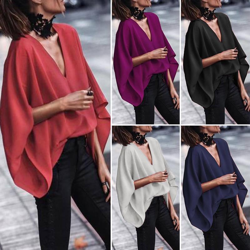 VONDA Women Sexy V Neck Long Sleeve   Blouse     Shirts   2020 Spring Autumn Tops Casual Loose Blusas OL   Shirt   Plus Size 5XL