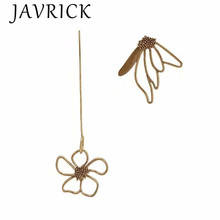 Stunning Bronze Asymmetric Flower Super Long Earrings For Women Fashion Jewelry