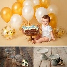 Цельная деревянная Ретро стойка для торта с высокой ногой, Свадебный десертный дисплей, поднос для фотосессии для детей 1 год, изысканная фотография