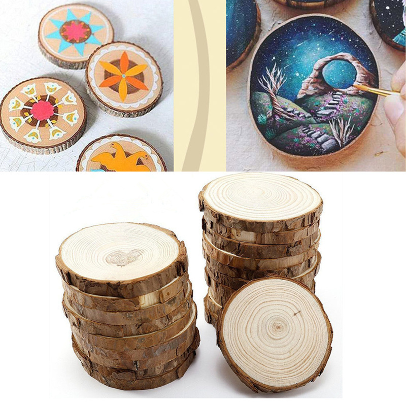 1pc/5pcs Natural Pine Round Unfinished Wood Slices Circles With Tree Bark Log Discs DIY Crafts Wedding Party Painting