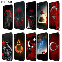 IYICAO Turkey Flag Wolf Soft Black Silicone Case for iPhone 11 Pro Xr Xs Max X or 10 8 7 6 6S Plus 5 5S SE